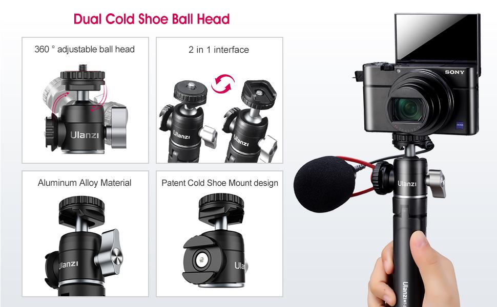 Dual Cold Shoe Ball Head