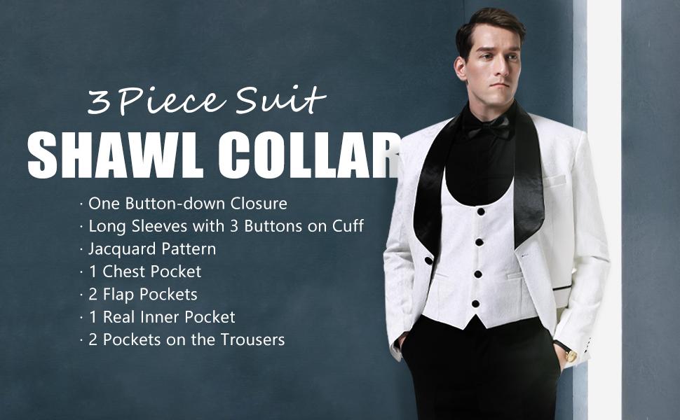 Men's Shawl Collar 3 Piece Suit Jacquard Tuxedo Slim Fit One Button Jacket Vest amp; Trousers Suit Set