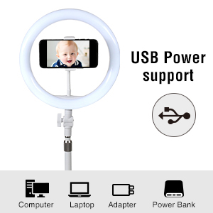 desktop ring light with base stand end phone holder for makeup table top 10-inch USB LED ring light