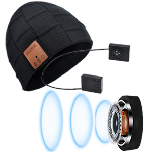 beanie with stereo speakers for wireless music and handsfree calling