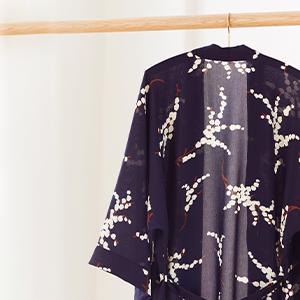 KIM+ONO Women's Crepe Kimono Robe Mio Navy