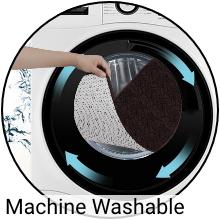 Machine washable.  Shaggy Chenille Bath Rug in washing machine