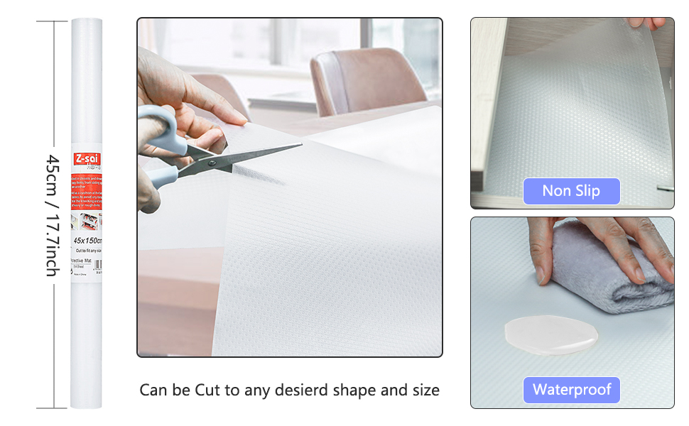 Non Slip/Non Adhesive Kitchen Cupboard Liners Roll, Waterproof Refrigerator Pad Antibacterial