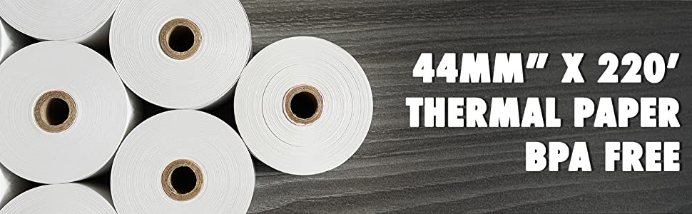 44mm x 220' Feet Thermal Paper Rolls