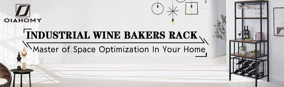 Industrial Wine Bakers Rack