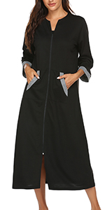 Ekouaer Women Zipper Robe 3/4 Sleeves Loungewear Full Length Sleepwear Pockets Housecoat