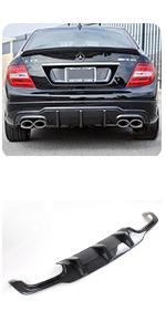 Mercedes Benz W204 C Class Sport C250 C350 C63 AMG 2012-2014 Carbon Fiber Rear Diffuser Lip Spoiler