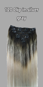 More Choices Click Here(120g Clip In Human Hair Silver Grey)