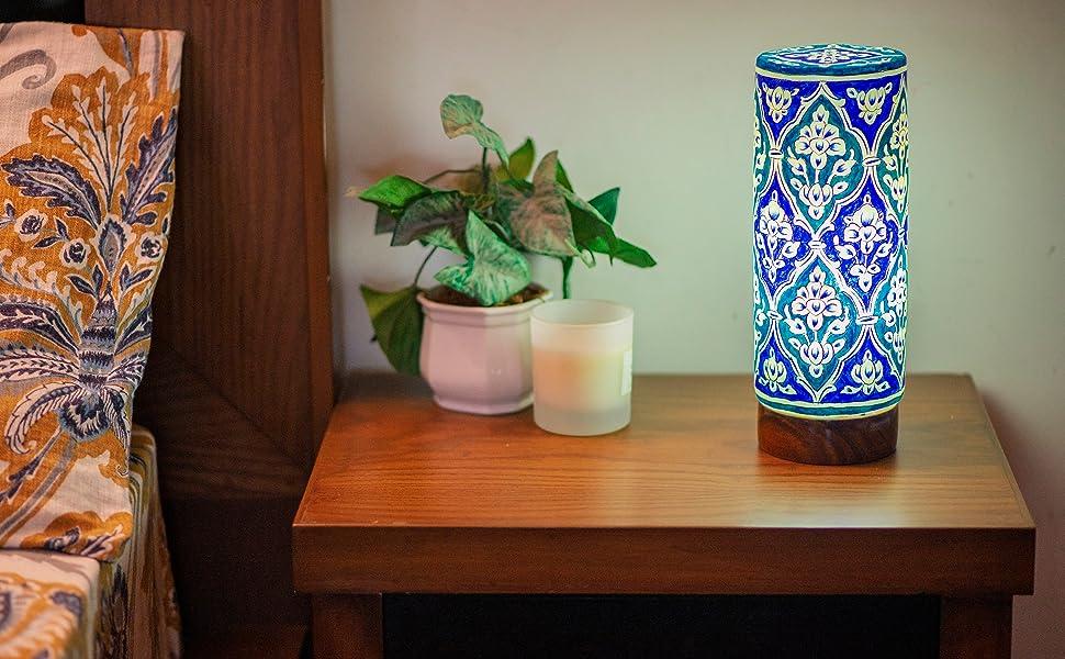 blue light table lamp modern bedside