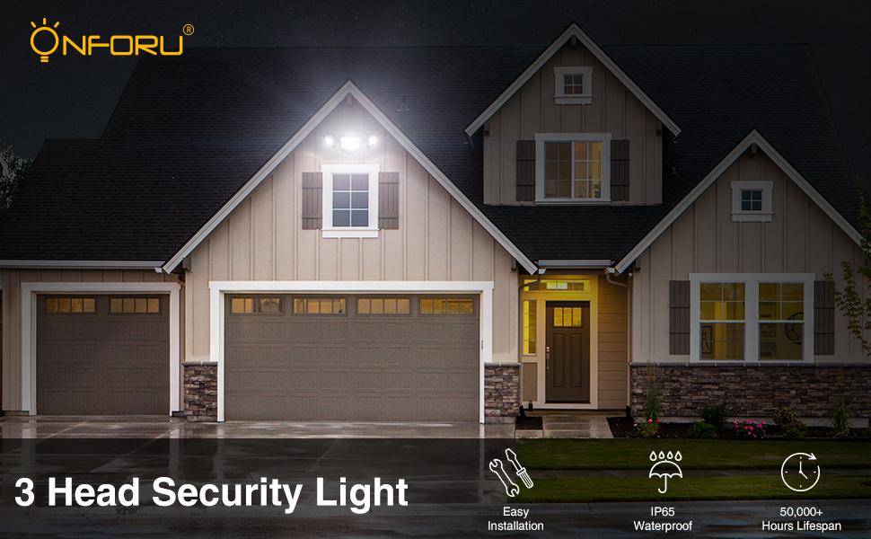 3 head led security light