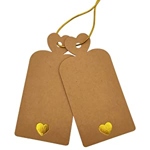 Parxara Kraft Gift Tags Valentines Day 72pcs Mix of White Tags and Brown Tags with Rose Gold Lovely Heart Large DIY Arts Crafts for Wedding Birthday Baby Showers Engagement with 20m String