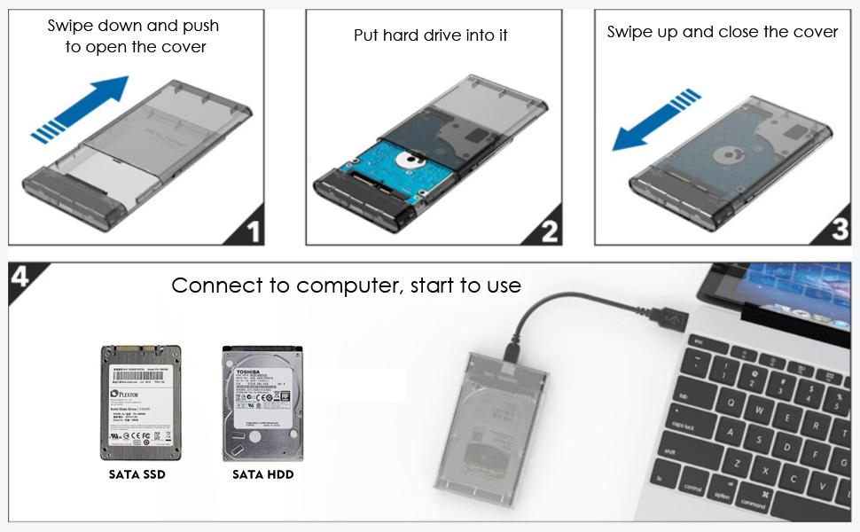 WAVLINK Caja de Disco Duro Externo USB 3.0 a SATA para 2.5 ...