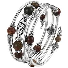 bangle silver bead bracelet