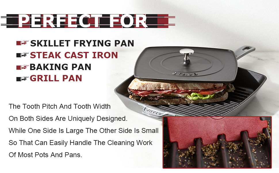 Grill Pan Scraper Cast Iron Pan Scrapers Hand Held Skillet Scrubber Scraper Cleaners Tools