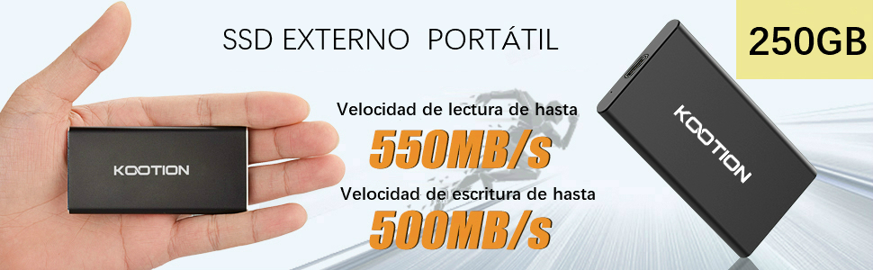 SSD 250GB Externo Portátil USB 3.1 KOOTION Disco Duro External ...