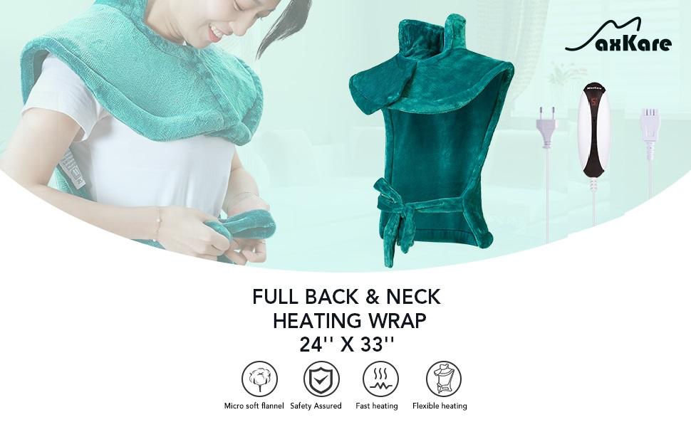 Almohadilla Térmica Eléctrica para la Espalda, Hombros y Cuello Calentado con Tecnología de