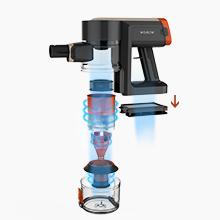 El sistema de doble filtración captura cada polvo fino