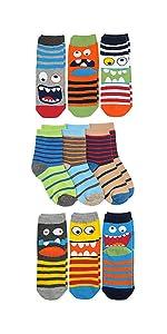 Jefferies Socks Boys Monster/Animal/Stripe Multi Pattern Crew Socks 9 Pair Pack