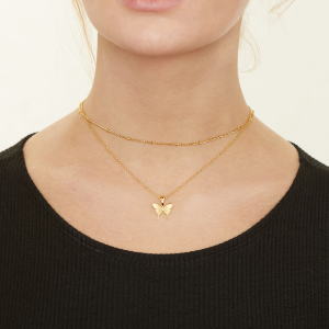 gold chain necklaces for girls women real solid layered neckalces butterfly heart moon lock evil eye