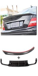 Benz W204 Sport C250 C300 C63 AMG Carbon Fiber Rear Lower Valance Lip Trunk Lid Boot Spoiler Wing