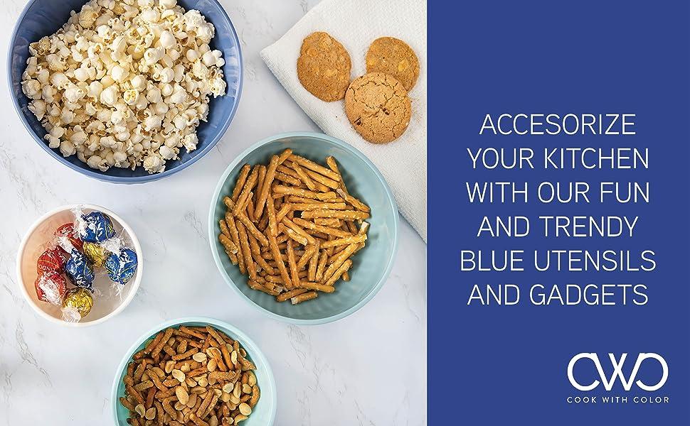 blue kitchen utensils