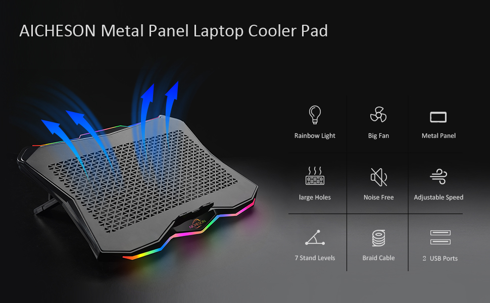 AA3 metal panel laptop cooler