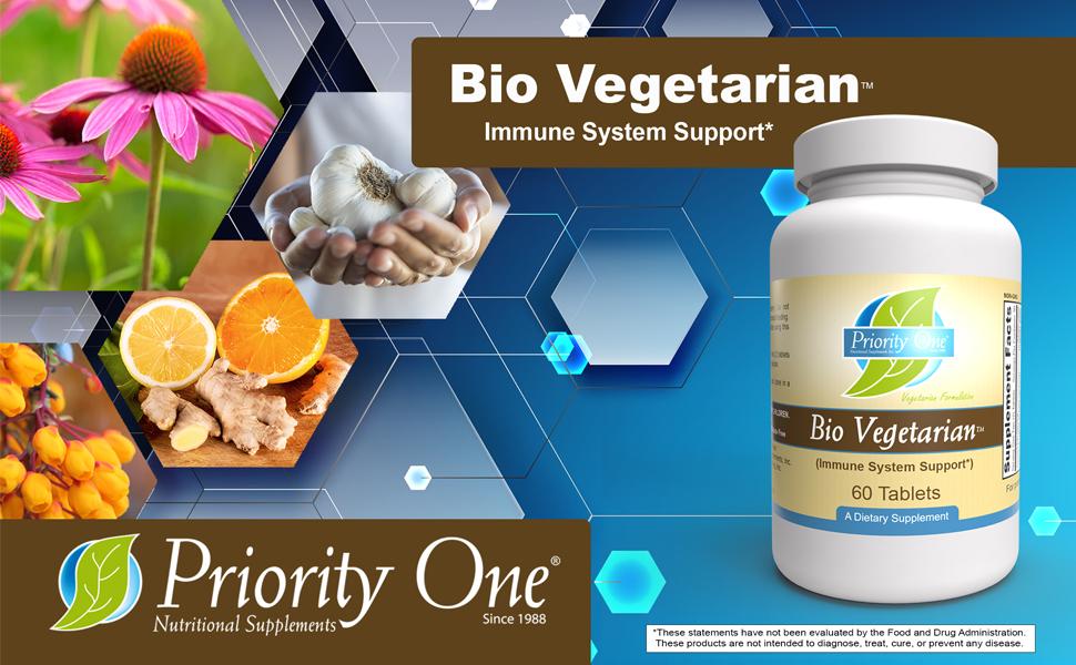 Bio Vegetarian, immune system support, priority one, health, garlic,