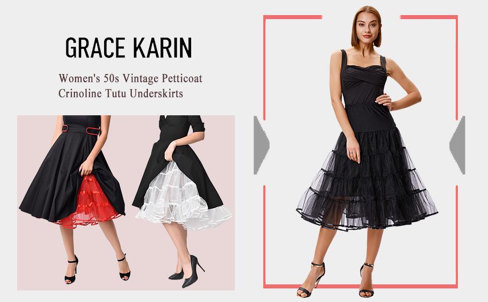 Yakamoz 50s Retro Petticoat Underskirt for Women Vintage A-line Crinoline Half Slips Knee Length 1950 Tutu Petticoats Skirts
