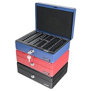 blu HMF 208-05 Cassetta Portavalori con Vassoio Della Moneta Euro-Rimovibile 25 x 18 x 9 cm