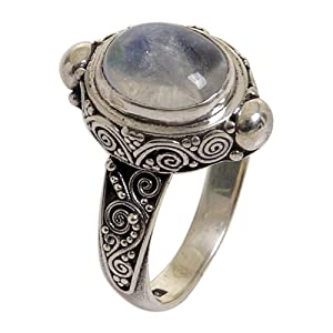 Oval Rainbow Moonstone  Sterling Silver Cocktail Ring