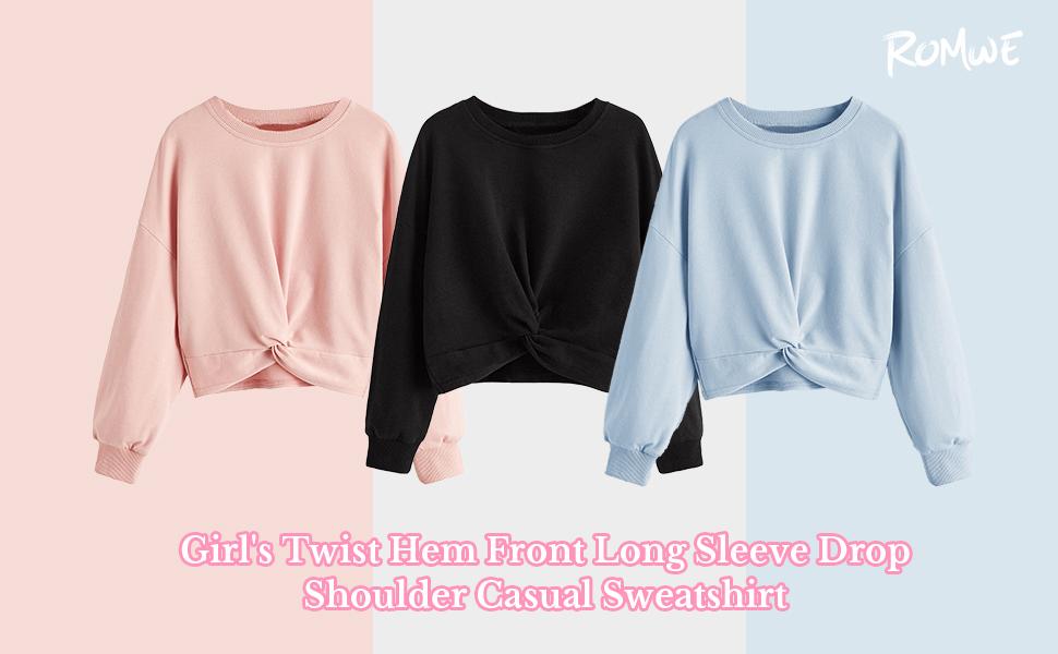 Romwe Girls Twist Hem Front Long Sleeve Drop Shoulder Casual Sweatshirt