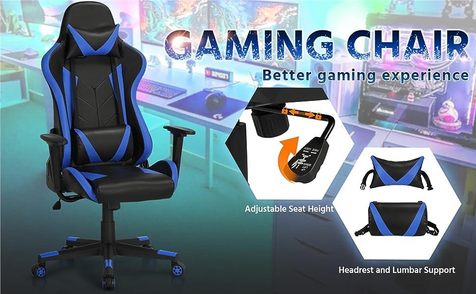 Acethrone Sedia Gaming Racing Altezza Mobilit/à e Dispositivo Reclinabile Sedia da Regolabile Reclinabile con Cuscino Lombare e Poggiatesta Nero-Blu Sedia da Ufficio con Rete Ergonomica