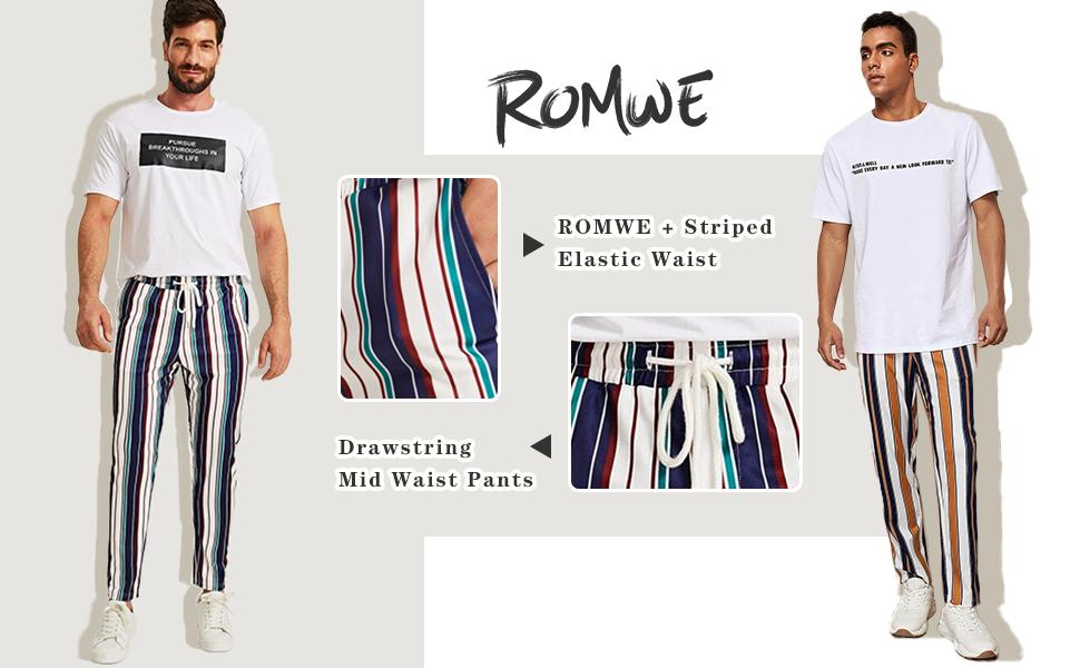 striped print fashion pants for men