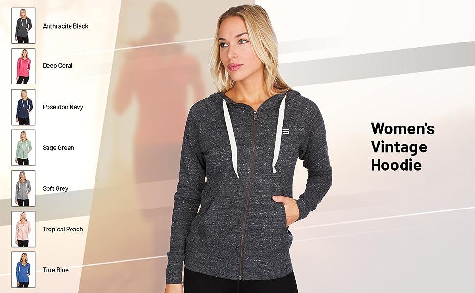 Women's full zip hooded sweatshirt.