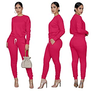 Womens Sweatsuit Set 2 Piece Fashion Pant and Sweater Set  Matching Outfit Set with Pockets