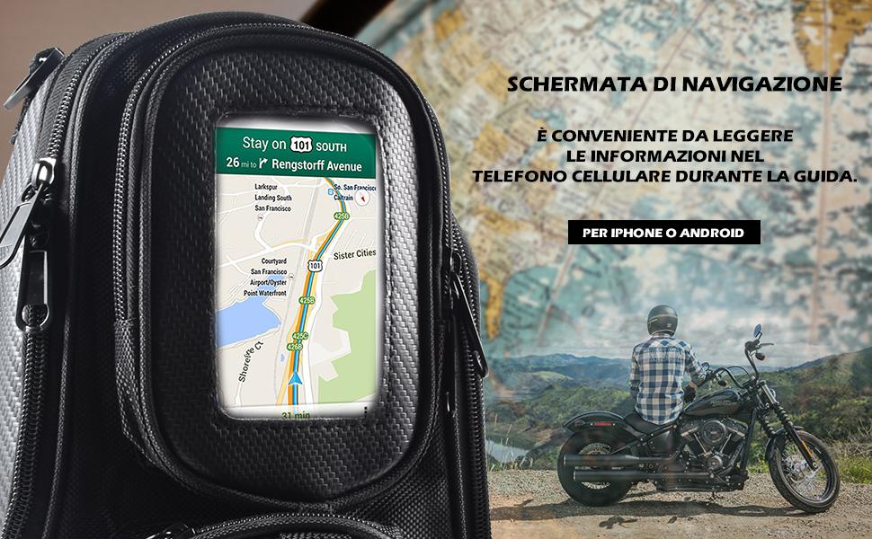 Moto universale nera for motocicletta che guida una borsa da serbatoio resistente for olio magnetico resistente allacqua Borsa da serbatoio for moto