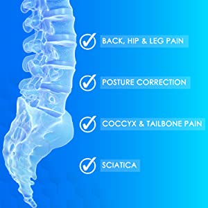 Perfect for back, hip and leg pain. Posture correction. Coccyx and tailbone pain. Sciatica.