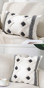 boho tufted plush decorative throw pillow cover