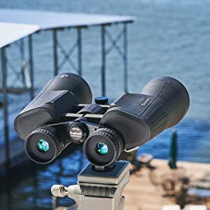 Bushnell Powerview 2 Binoculars on a stand at a waterfront