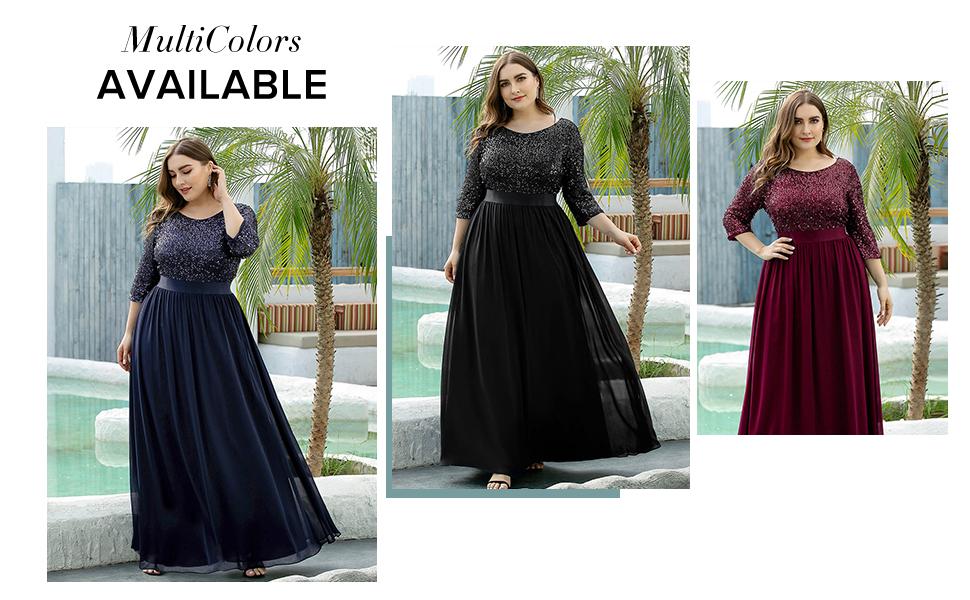 Ever-Pretty Women Plus Size Evening Dresses Sequin Formal Dress wedding guest dress bridesmaid dress