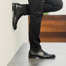Pull on Jayden black leather mens dress boots