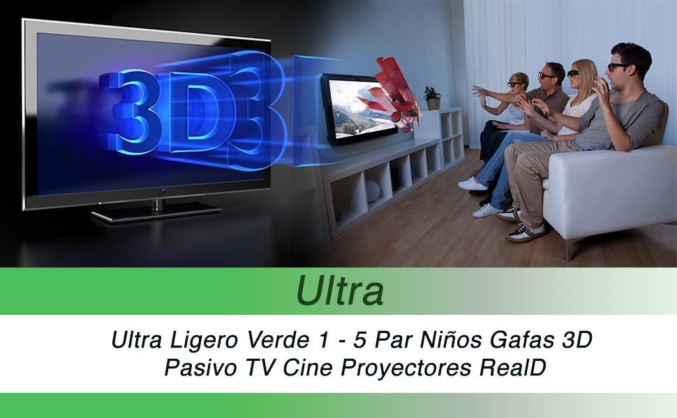 Ultra 1 Par de Verde Gafas 3D Pasivo para Niños para Uso con Todas ...