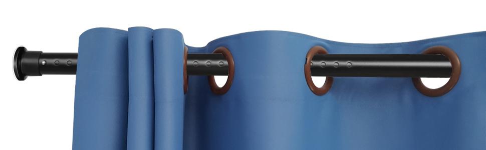 KINLO 210-260cm barra de cortina de ducha poste telescópico barra de cortina de riel de ropa de acero inoxidable sin perforación - cortina de ducha extensible negra mate barra de metal: Amazon.es: