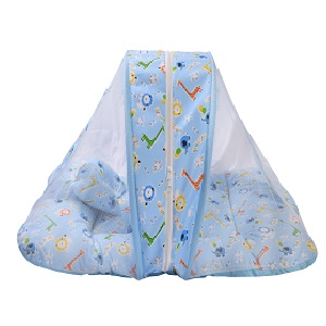 Toddylon Baby Bedding Set with Mosquito Net and Pillow (Blue, 0-6 Months)