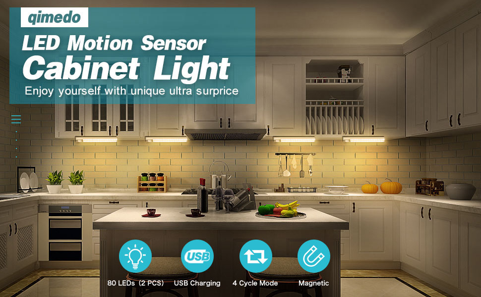 Under Cabinet Lighting 80 Led Motion Sensor Closet Light With 3 Color Stepless Dimmable Usb Rechargeable Night Light With 1800mah Battery Led Light Bar For Kitchen Cupboard Stair Hallway 2 Pack Amazon Ca Electronics