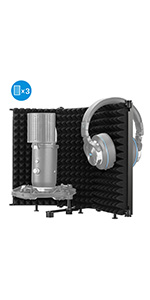 Moukey Tabletop Compact Microphone Isolation Shield