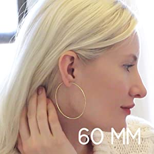 Endless Hoop Earrings Hypoallergenic 925 Sterling Silver Round Circle Dangling Loops Thin Tube Drops