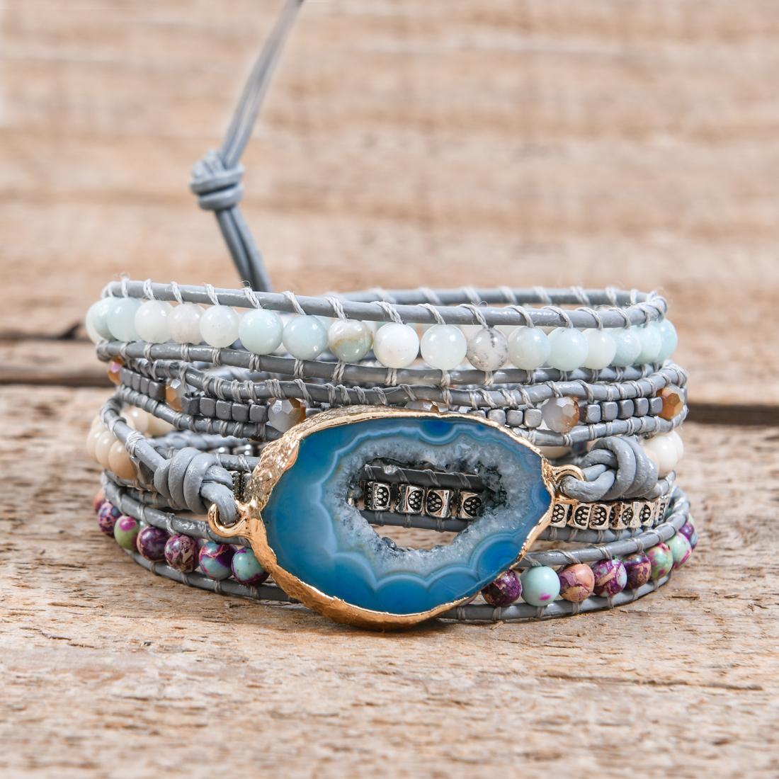 Layered Chakra Beaded Leather Wrap Multi Stunning Boho Bracelet Friendship Bracelet