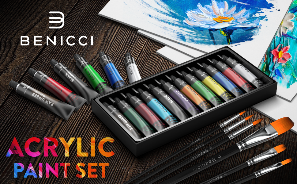 Acrylic Paint Set of 12 with 6 Brushes and 3 Canvas Panels