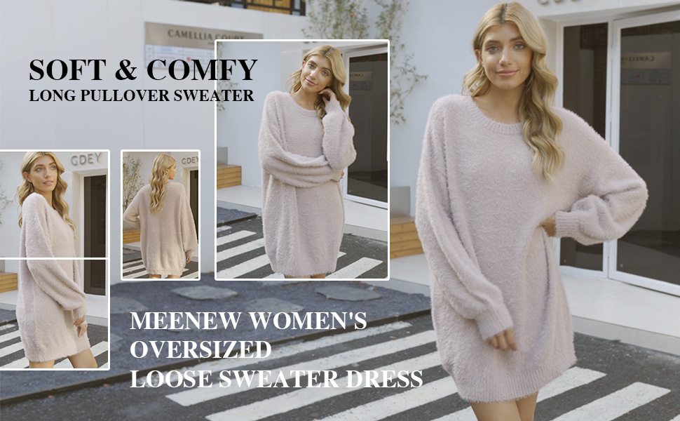 Women's Furry Crewneck Oversized Loose Long Pullover Sweater Dress